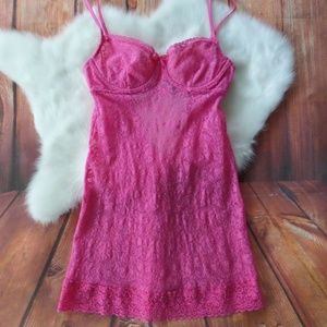 Victoria's Secret Lacie Pink Lace Stretch Slip 34C